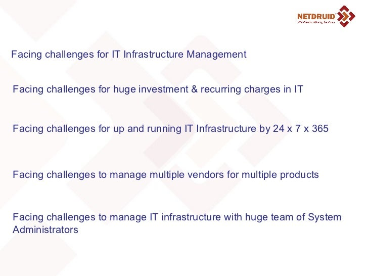 Facing challenges for IT Infrastructure Management Facing challenges for huge investment & recurring charges in IT Facing ...
