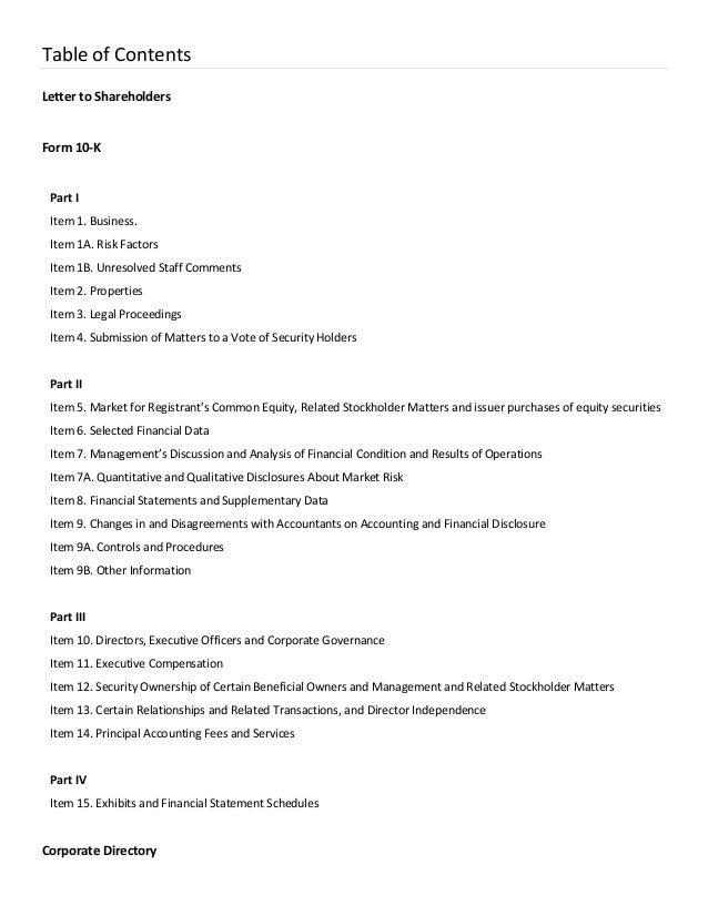 Table of Contents Letter to Shareholders Form 10-K Part I Item 1. Business. Item 1A. Risk Factors Item 1B. Unresolved Staf...