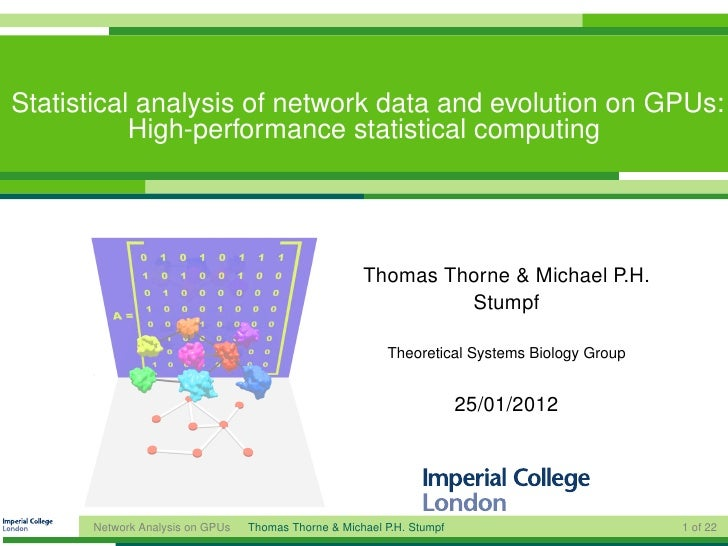 Statistical analysis of network data and evolution on GPUs: High-performance statistical computing