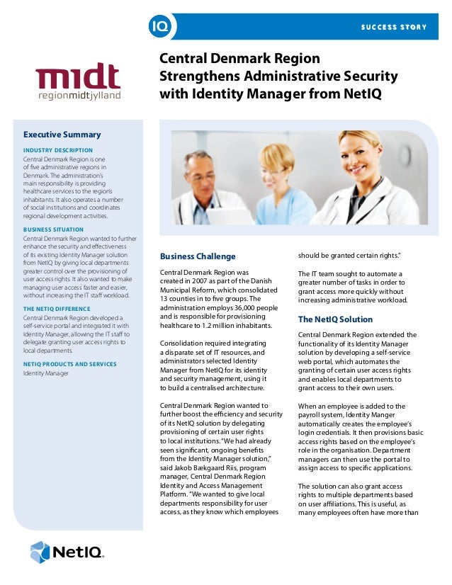Central Denmark Region Strengthens Administrative Security with Identity Manager from NetIQ
