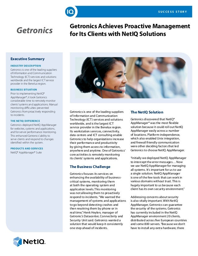 Getronics Achieves Proactive Management for Its Clients with NetIQ Solutions
