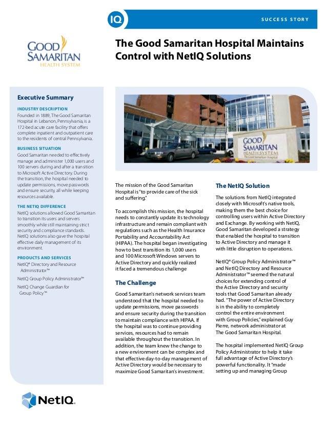 The Good Samaritan Hospital Maintains Control with NetIQ Solutions