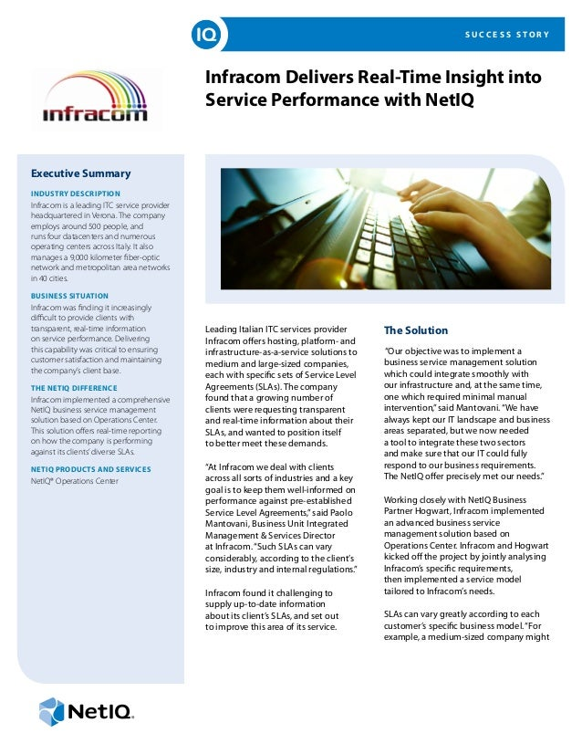 S U C C E S S S T O R Y Infracom Delivers Real-Time Insight into Service Performance with NetIQ Executive Summary INDUSTRY...