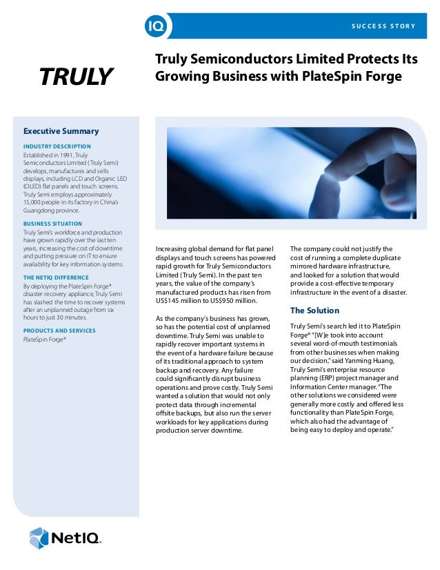 Truly Semiconductors Limited Protects Its Growing Business with PlateSpin Forge