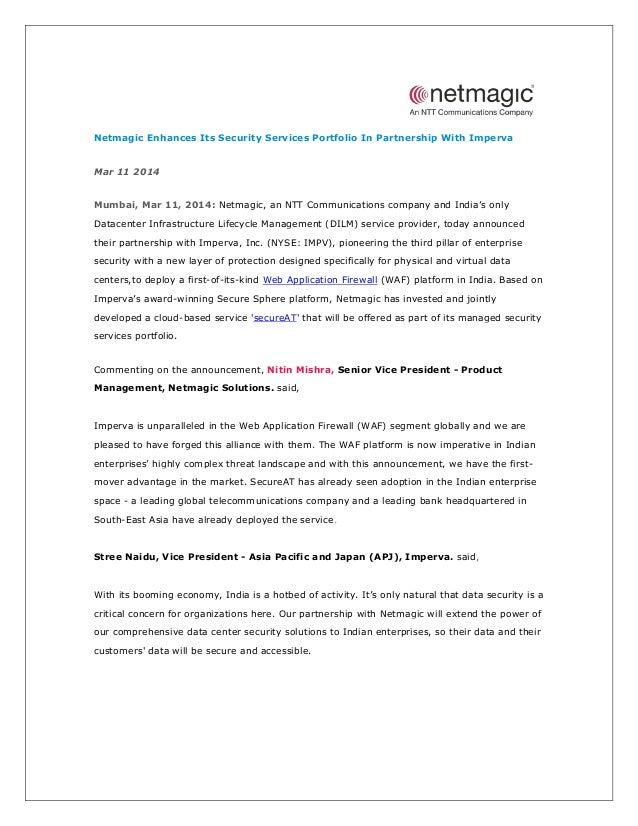 Netmagic Enhances Its Security Services Portfolio In Partnership With Imperva