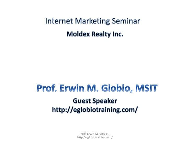 Prof. Erwin M. Globio -http://eglobiotraining.com/