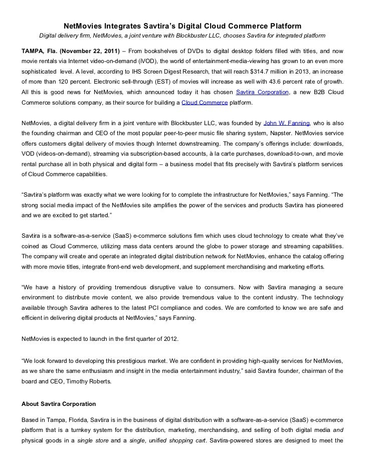 NetMovies Integrates Savtira's Digital Cloud Commerce Platform