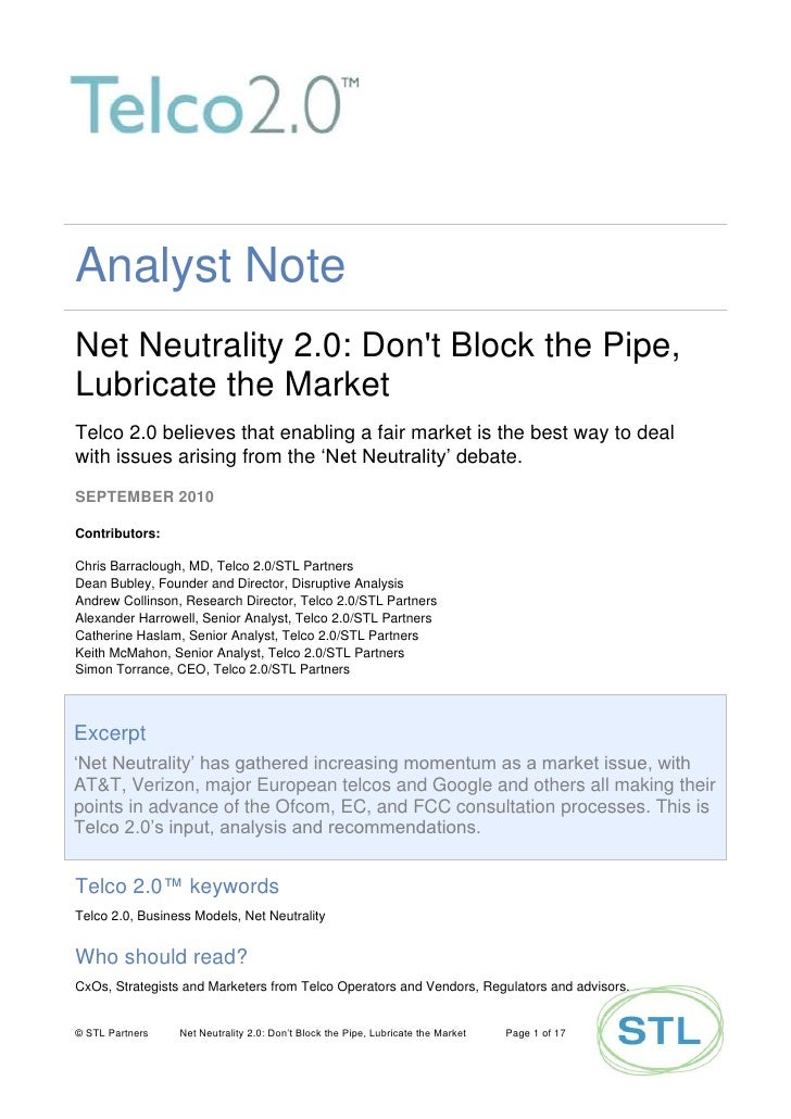 Net Neutrality 2.0 - Lubricate The Market