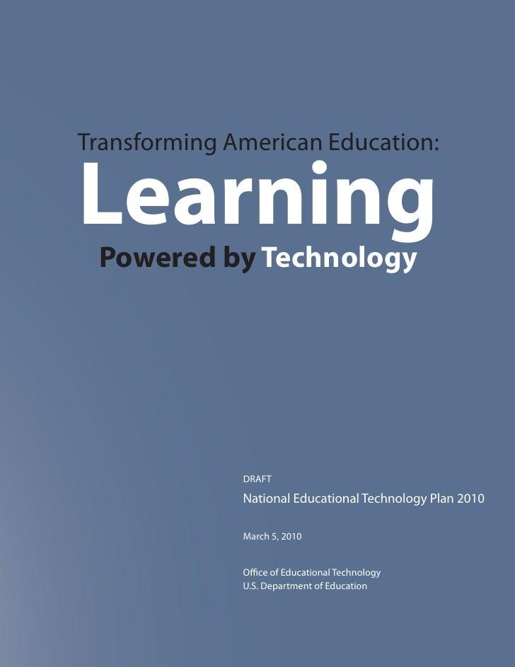 Netp 2010 Final Report - Il piano di Obama per trasformare l'educazione attraverso le tecnologie