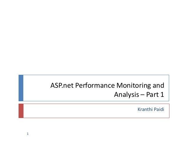 ASP.net Performance Monitoring andAnalysis – Part 1Kranthi Paidi1