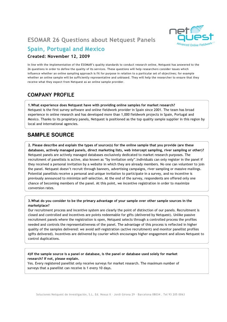 ESOMAR 26 Questions about Netquest Panels Spain, Portugal and Mexico Created: November 12, 2009 In line with the implement...