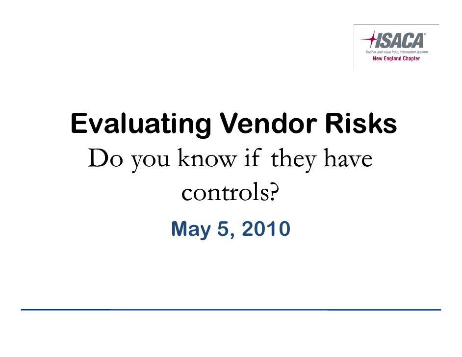 Evaluating Vendor Risks - Presentation