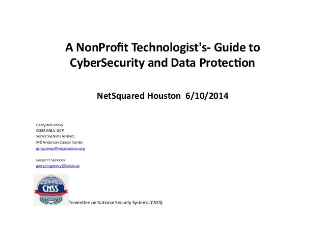 A NonProfit Technologist's Guide to CyberSecurity and Data Protection