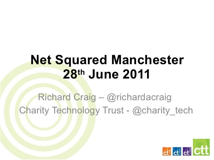 Net Squared Manchester 28 th  June 2011 Richard Craig – @richardacraig  Charity Technology Trust - @charity_tech