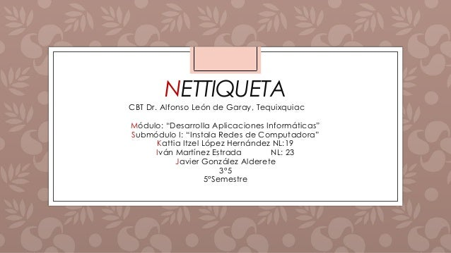 "NETTIQUETA CBT Dr. Alfonso León de Garay, Tequixquiac Módulo: ""Desarrolla Aplicaciones Informáticas"" Submódulo I: ""Instala..."