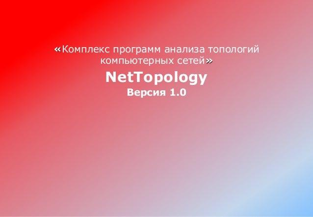 «Комплекс программ анализа топологий компьютерных сетей» NetTopology Версия 1.0