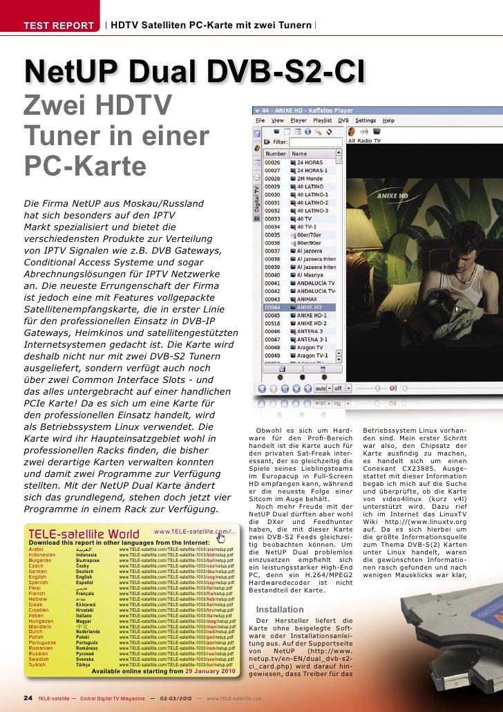 TEST REPORT                       HDTV Satelliten PC-Karte mit zwei Tunern     NetUP Dual DVB-S2-CI Zwei HDTV Tuner in ein...