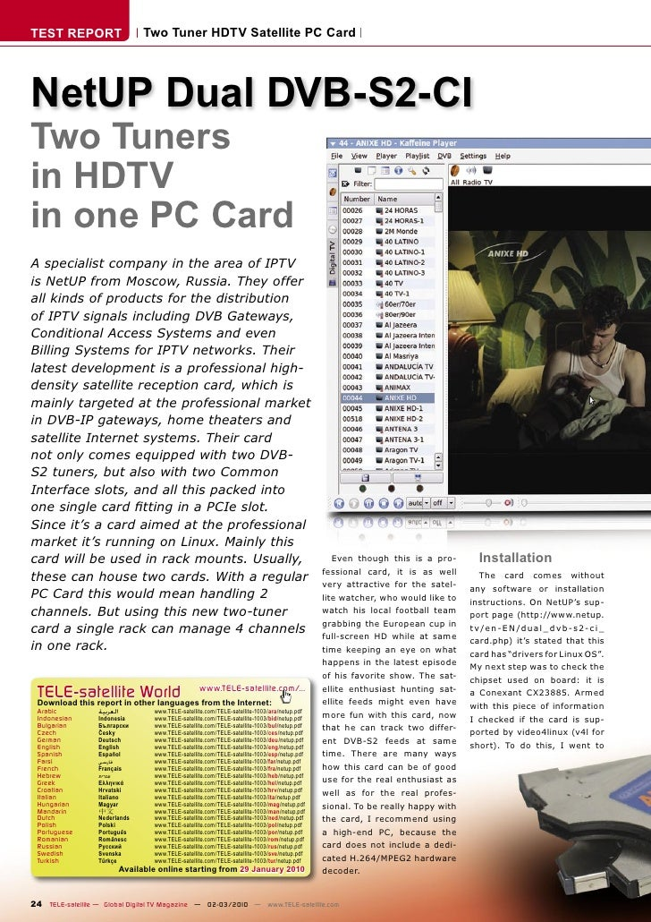 TEST REPORT                       Two Tuner HDTV Satellite PC Card     NetUP Dual DVB-S2-CI Two Tuners in HDTV in one PC C...