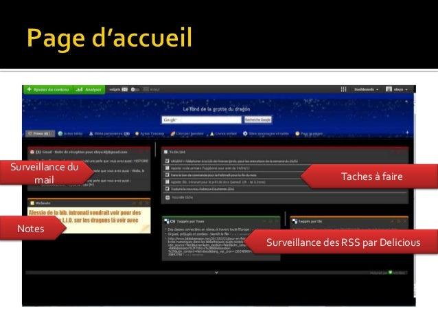 Surveillance du     mail                         Taches à faire Notes                  Surveillance des RSS par Delicious