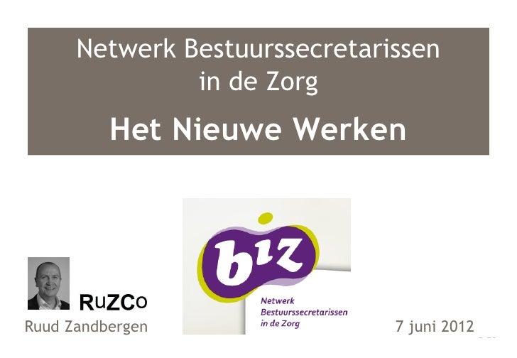 Netwerk Bestuurssecretarissen               in de Zorg          Het Nieuwe WerkenRuud Zandbergen                7 juni 2012