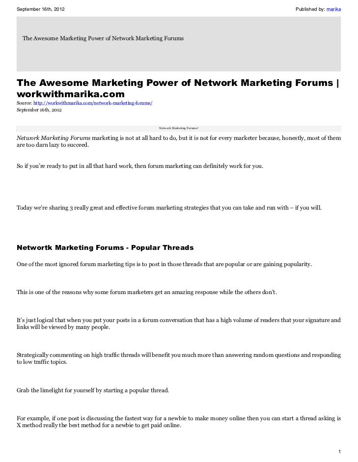 3 Proven Network Marketing Forums Marketing Tips