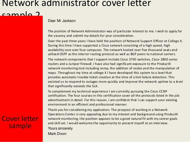 Cover Letter For Network Administrator Job. Pacs Administration .