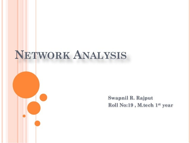 NETWORK ANALYSIS Swapnil R. Rajput Roll No:19 , M.tech 1st year