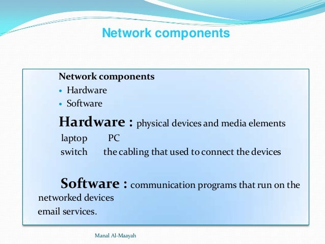 Network components  Network components  Hardware  Software  Hardware : physical devices and media elements laptop switch...