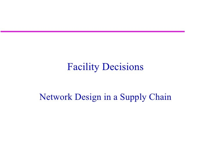 Facility DecisionsNetwork Design in a Supply Chain                                   1