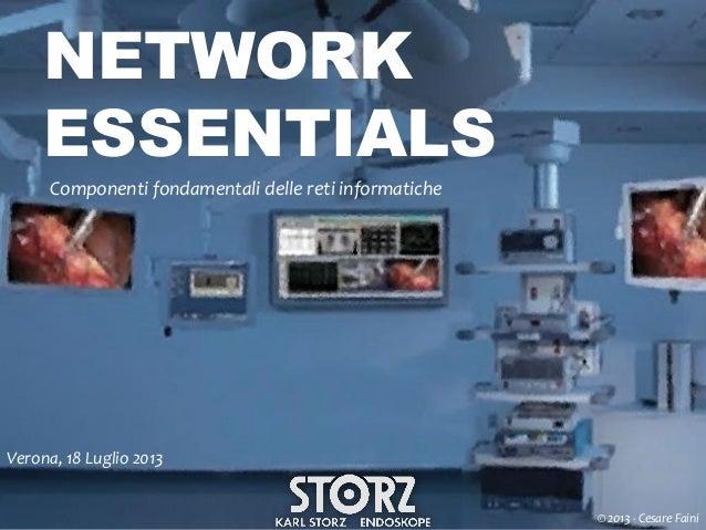 NETWORK ESSENTIALS Componenti fondamentali delle reti informatiche  Verona, 18 Luglio 2013 © 2013 - Cesare Faini