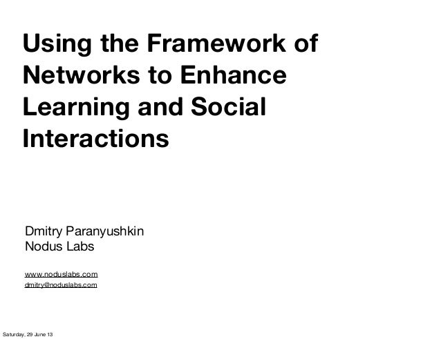 Using the Framework of Networks to Enhance Learning and Social Interactions Dmitry Paranyushkin Nodus Labs www.noduslabs.c...