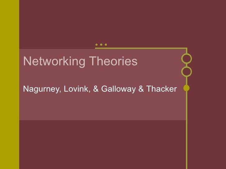 Networking Theories Nagurney, Lovink, & Galloway & Thacker