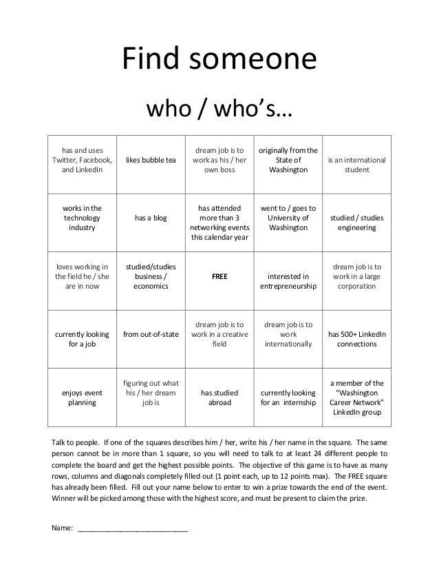 networking bingo