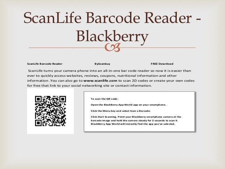 ScanLife Barcode Reader -       Blackberry                                             ScanLife Barcode Reader           ...