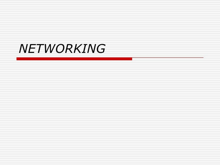 Networking & Intro 2003