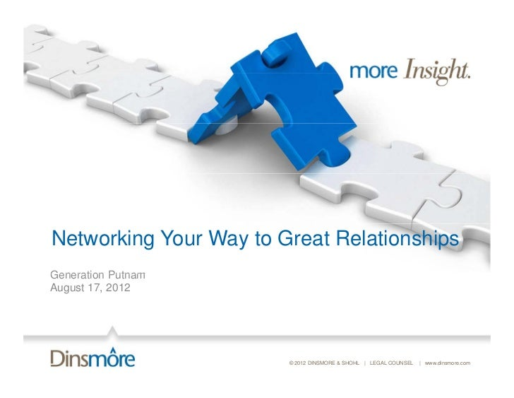 Networking Your Way to Great RelationshipsGeneration PutnamAugust 17, 2012                        © 2012 DINSMORE & SHOHL ...