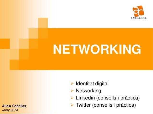 NETWORKING Alicia Cañellas Juny 2014  Identitat digital  Networking  Linkedin (consells i pràctica)  Twitter (consells...