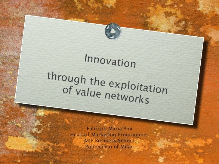 Innovatio                          nthrough         the explo   of value        itation            networks           Fabr...