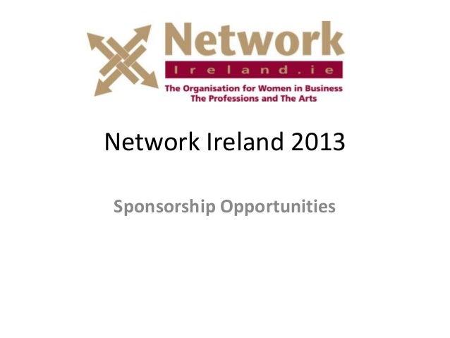 Network Ireland 2013 Sponsorship Opportunities