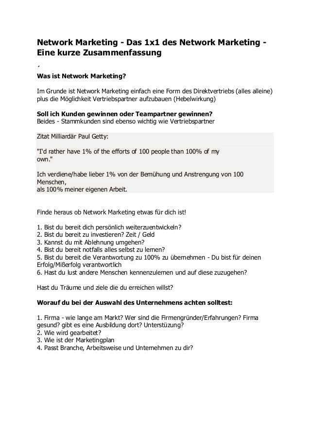 Network Marketing - Das 1x1 des Network Marketing - Eine kurze Zusammenfassung ´ Was ist Network Marketing? Im Grunde ist ...