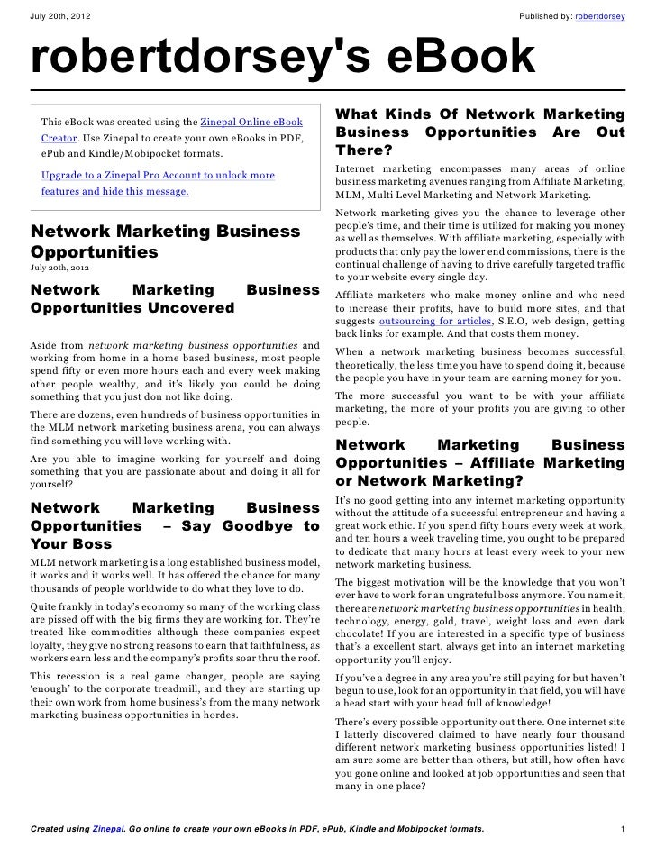 Network marketing business opportunities
