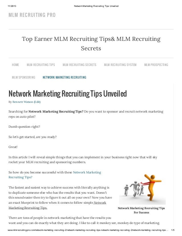 11/26/13  Network Marketing Recruiting Tips Unveiled  MLM RECRUITIN G PRO  Top Earner MLM Recruiting Tips& MLM Recruiting ...
