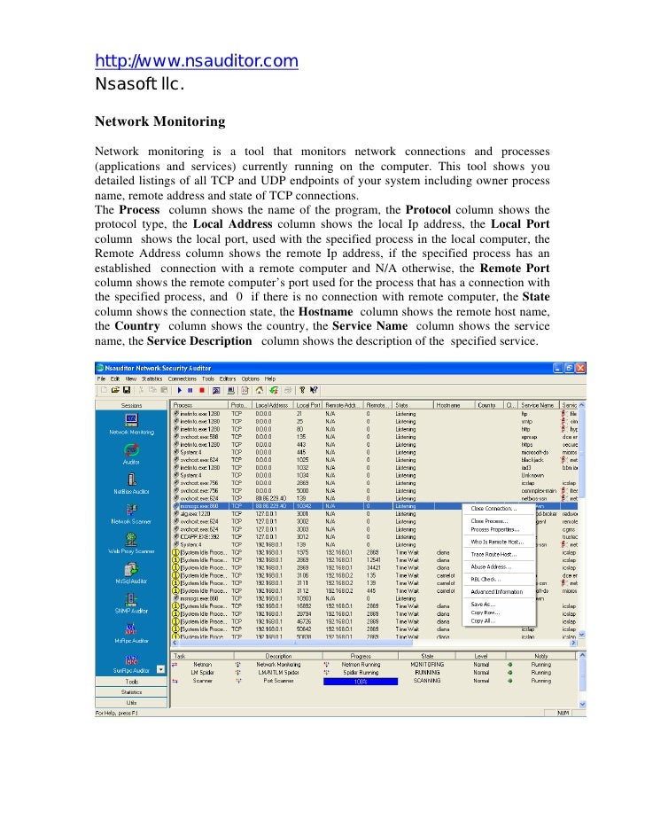 http://www.nsauditor.com Nsasoft llc.  Network Monitoring Network monitoring is a tool that monitors network connections a...