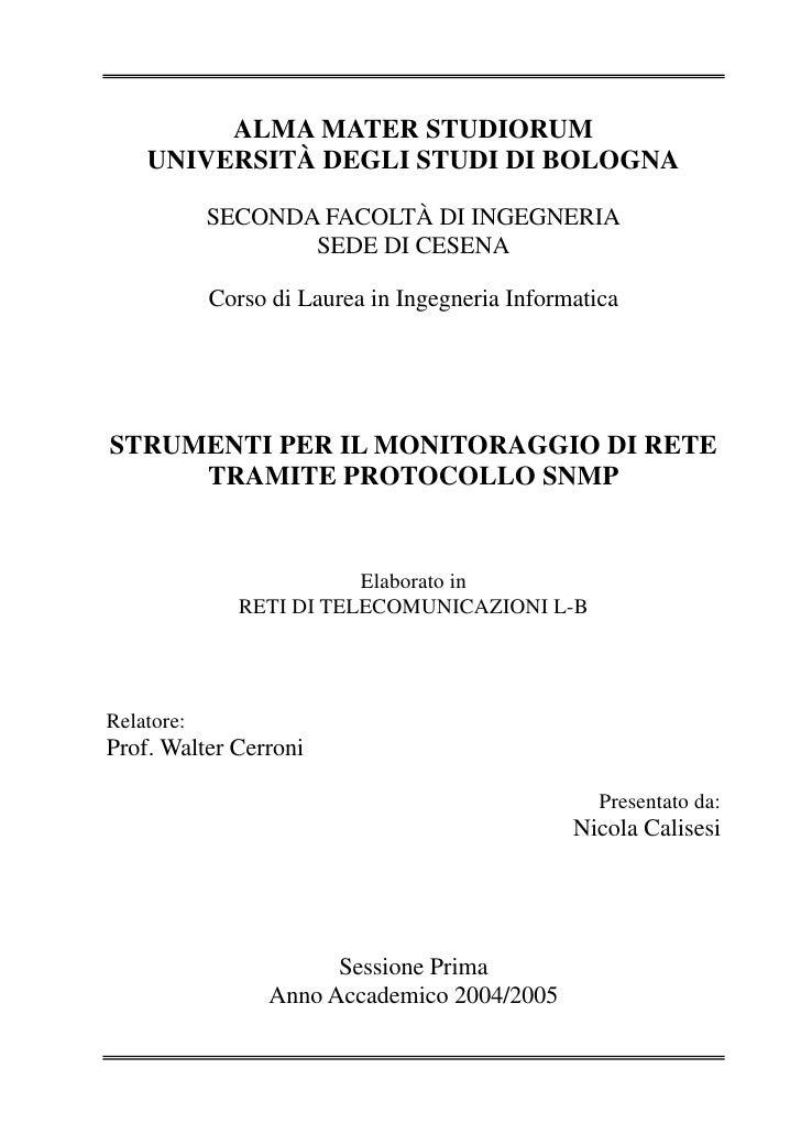 ALMA MATER STUDIORUM     UNIVERSITÀ DEGLI STUDI DI BOLOGNA              SECONDA FACOLTÀ DI INGEGNERIA                    S...