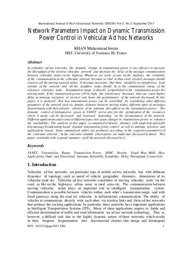 International Journal of Next-Generation Networks (IJNGN) Vol.5, No.3, September 2013 DOI : 10.5121/ijngn.2013.5301 1 Netw...