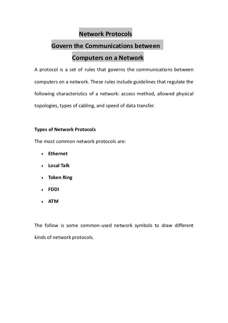 Network Protocols        Govern the Communications between                   Computers on a NetworkA protocol is a set of ...