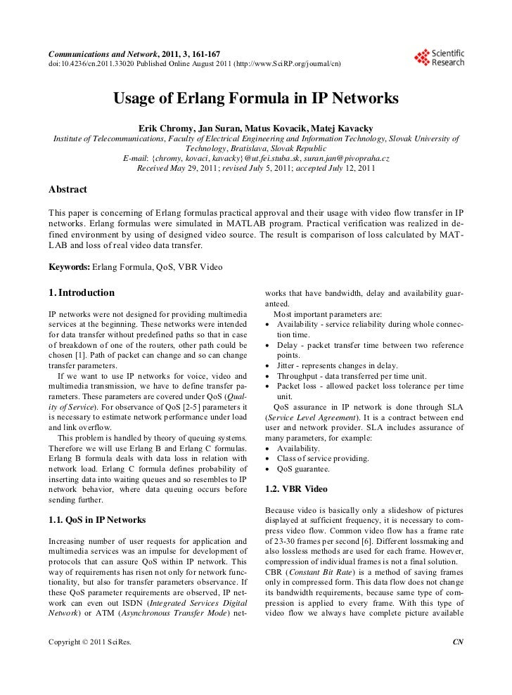 Communications and Network, 2011, 3, 161-167doi:10.4236/cn.2011.33020 Published Online August 2011 (http://www.SciRP.org/j...