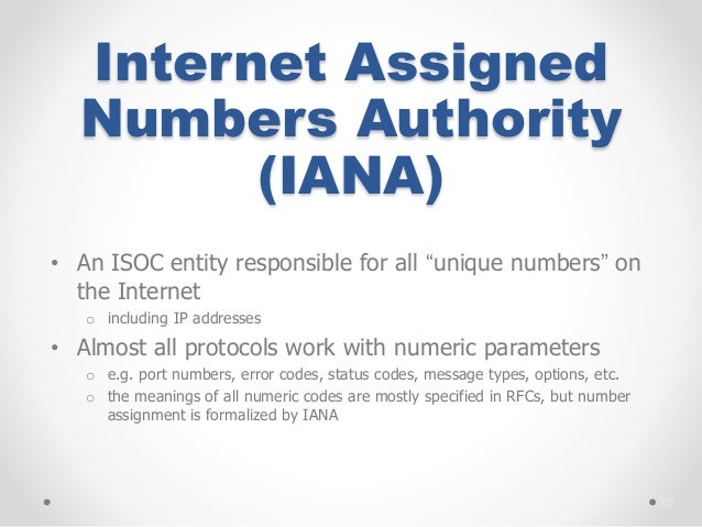 Internet assigned numbers
