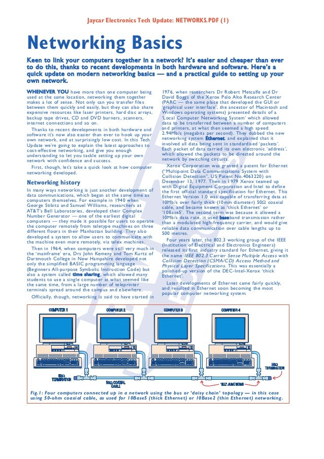 Jaycar Electronics Tech Update: NETWORKS.PDF (1)  Networking Basics Keen to link your computers together in a network? It'...