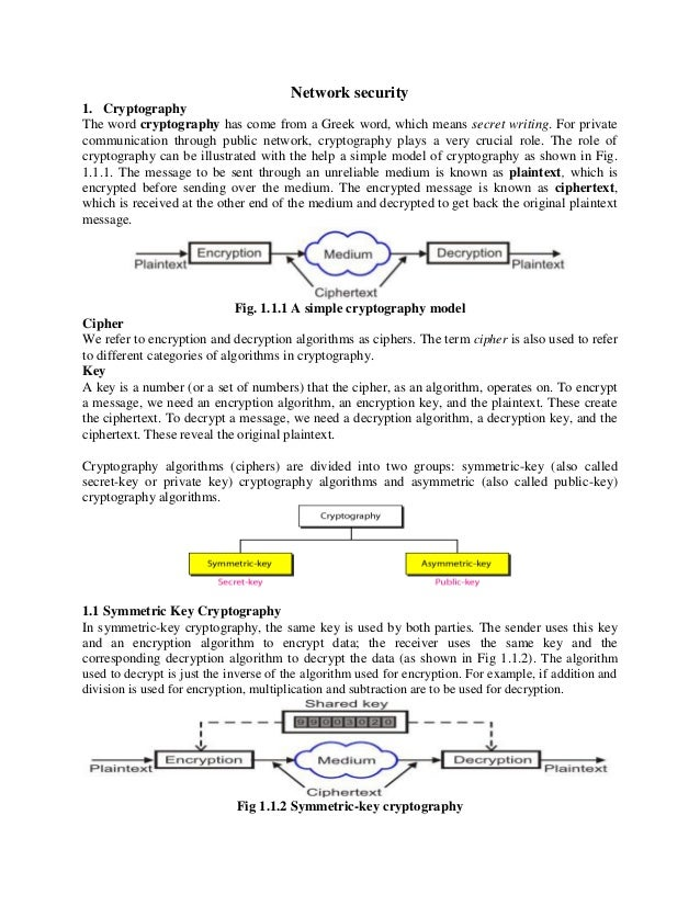 Network security 1. Cryptography The word cryptography has come from a Greek word, which means secret writing. For private...